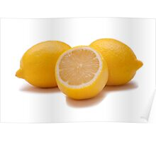 isolated yellow lemons on white Poster