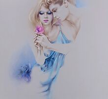 """Geschenkte Rose"" Pastel Pencil Artwork by Sara Moon"