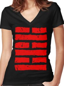 Arashikage Distressed Red Women's Fitted V-Neck T-Shirt