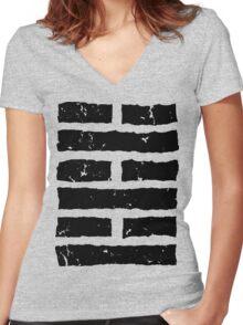 Arashikage Distressed Black Women's Fitted V-Neck T-Shirt