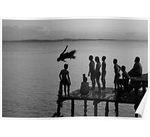 Water Gymnastics - Pulau Tiga, Sabah, Malaysia Poster