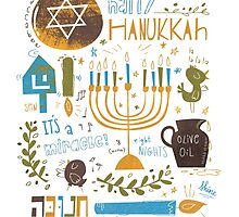 Happy Hanukkah - green blue and gold by SillyHilli