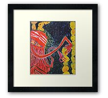 Unsatiated - A Red Lady With A Stack Of Cookies Framed Print