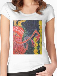 Unsatiated - A Red Lady With A Stack Of Cookies Women's Fitted Scoop T-Shirt