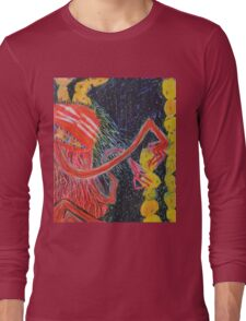 Unsatiated - A Red Lady With A Stack Of Cookies Long Sleeve T-Shirt