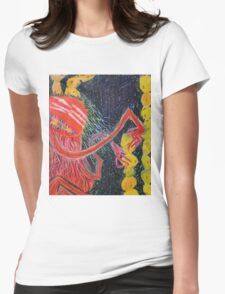 Unsatiated - A Red Lady With A Stack Of Cookies Womens Fitted T-Shirt