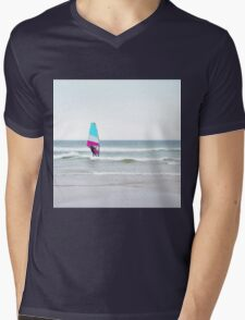 Windsurfer with Aqua and Magenta Mens V-Neck T-Shirt