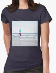 Windsurfer with Aqua and Magenta Womens Fitted T-Shirt