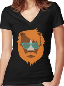 Cute Lion Hipster Animal With Funky Glasses Women's Fitted V-Neck T-Shirt