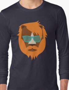 Cute Lion Hipster Animal With Funky Glasses Long Sleeve T-Shirt