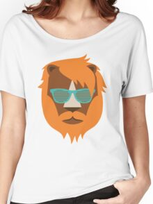 Cute Lion Hipster Animal With Funky Glasses Women's Relaxed Fit T-Shirt
