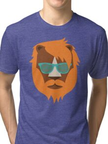 Cute Lion Hipster Animal With Funky Glasses Tri-blend T-Shirt