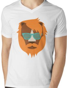 Cute Lion Hipster Animal With Funky Glasses Mens V-Neck T-Shirt