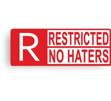 restricted - no haters red Canvas Print