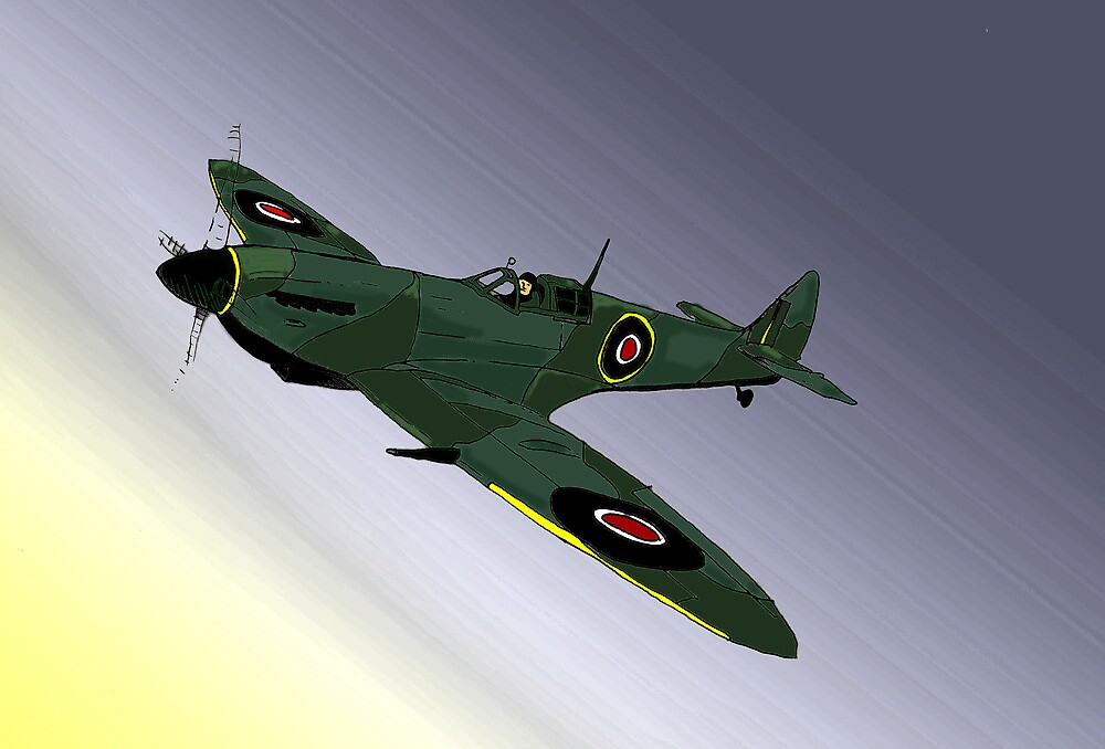 Spitfire at night by Steve's Fun Designs