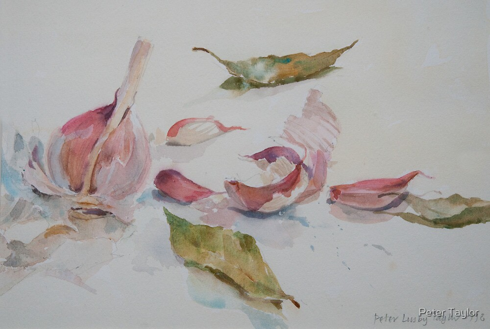 Garlic and bay leaf by Peter Lusby Taylor