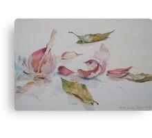 Garlic and bay leaf Canvas Print