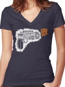 Music Machine Gun Women's Fitted V-Neck T-Shirt