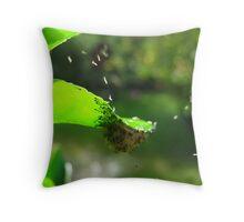 Orchard Swallowtail Caterpillar Babies Throw Pillow