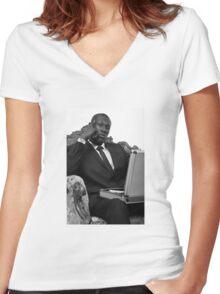 STORMZY SUIT PORTRAIT Women's Fitted V-Neck T-Shirt