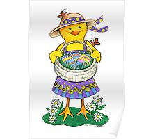 Easter Chick with Eggs Poster