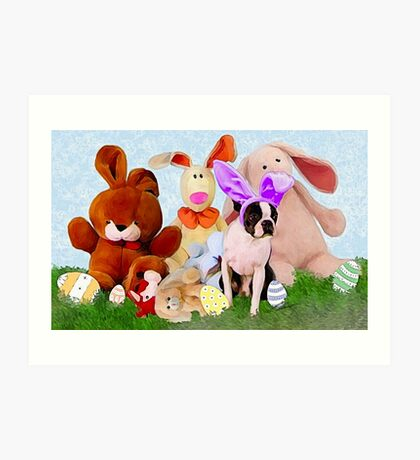 Easter Boston Bunnies .. Art Print
