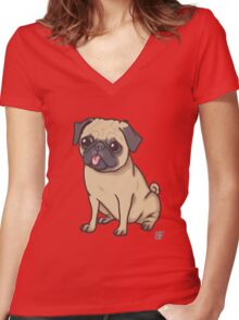 PUG (pink) Women's Fitted V-Neck T-Shirt