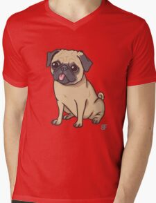 PUG (pink) Mens V-Neck T-Shirt