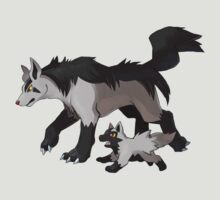 Mightyena and Poochyena by SALSAMAN