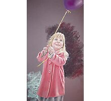 Girl with a purple balloon Photographic Print