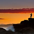 Soldiers Beach - Lone Fisher by Mathew Courtney