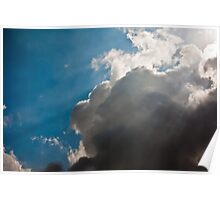 God clouds, sun rays piercing through dense clouds Poster