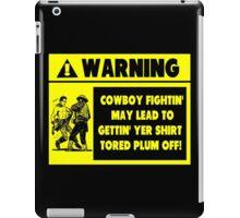 Cowboy Fighting Warning - Yellow iPad Case/Skin