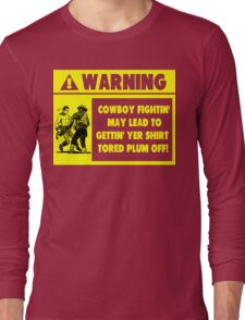 Cowboy Fighting Warning - Yellow Long Sleeve T-Shirt