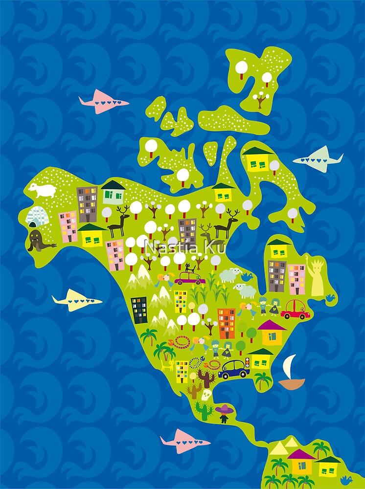Quot Cartoon Map Of North America Quot By Anastasiia Kucherenko