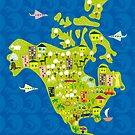 cartoon map of North America by Anastasiia Kucherenko