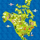 cartoon map of North America by Anastasiia Kucherenko