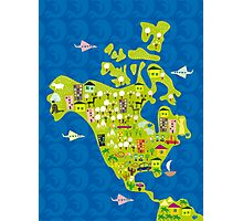 cartoon map of North America Photographic Print