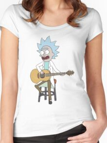 Rick and Morty-- Tiny Rick Guitar Women's Fitted Scoop T-Shirt