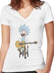Rick and Morty-- Tiny Rick Guitar Women's Fitted V-Neck T-Shirt
