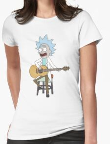 Rick and Morty-- Tiny Rick Guitar Womens Fitted T-Shirt