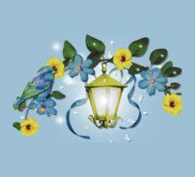 Blue Bird and Blue Flower Baby Tee