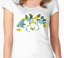 Blue Bird and Blue Flower Women's Fitted Scoop T-Shirt