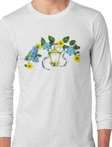 Blue Bird and Blue Flower Long Sleeve T-Shirt