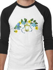 Blue Bird and Blue Flower Men's Baseball ¾ T-Shirt