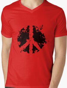 Peace sign in black Mens V-Neck T-Shirt