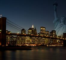Manhattan with Statue of Liberty by Thomas Stroehle
