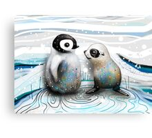 Penguin Chick and Baby Seal Canvas Print
