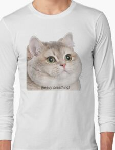 Heavy Breathing Cat- Improved Long Sleeve T-Shirt