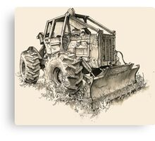 Log Tractor - Ink Canvas Print